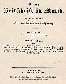 """""""Erste Anstöße zu einer wissenschaftlichen Musikologie gaben u.a. Robert Schumann und sein Lehrer Friedrich Wieck mit der 'Neuen Zeitschrift für Musik'"""" (Bild: Deckblatt der Zeitschrift)"""