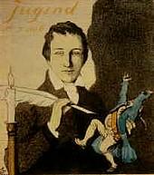 Heinrich Heine (Karikatur: Titelseite der «Jugend» 1906 - «Heine mit spitzer Feder»)