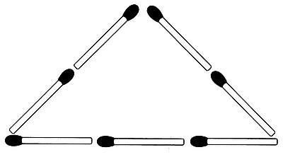 Legen Sie die Streichhölzer so um, dass drei Dreiecke entstehen (Streichholzrätsel Glarean Magazin - Oktober 2007)