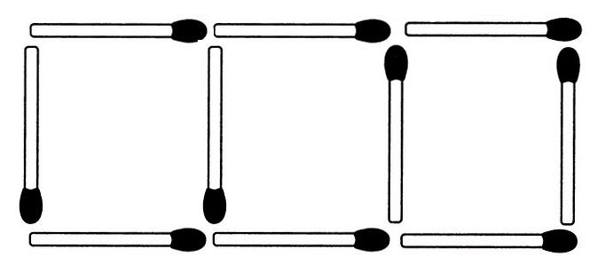 10 Streichhölzer bilden hier 3 gleichseitige Vierecke. Nun sollen aus 9 Streichhölzern ebenfalls 3 gleichseitige Vierecke entstehen