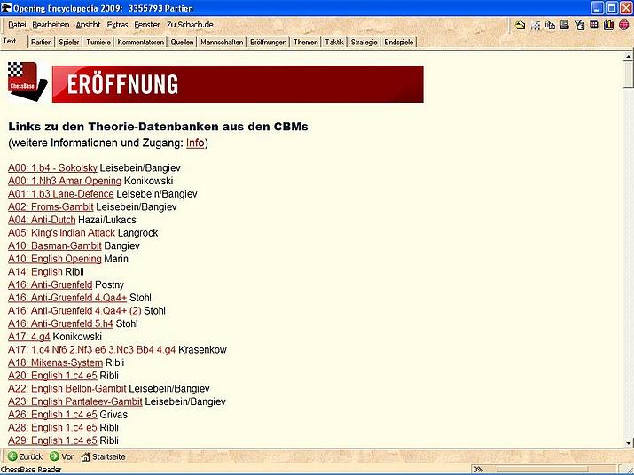 """Die Links zu den CBM-Theorie-Datenbanken in der """"Opening Encyclopedia 2009"""""""