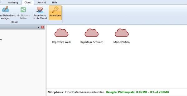 Screenshot der Cloud-Anbindung