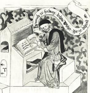 Heinrich von Laufenberg (aus der Handschrift des Buchs der Figuren, die 1870 in Straßburg verbrannt ist)