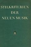 Stilkriterien neuer Musik - Anthologie