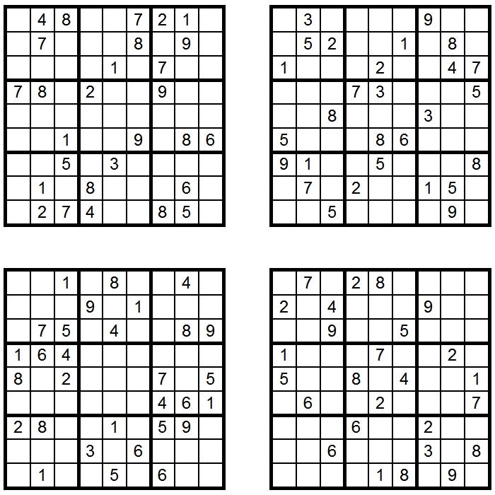 4x Sudoku - Aufgaben - Glarean Magazin