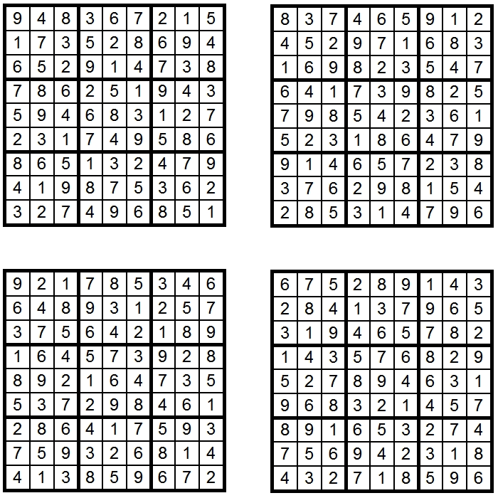4x Sudoku - Loesungen - Glarean Magazin