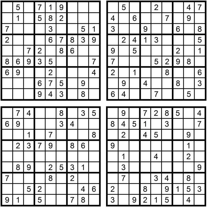 Sudoku - Aufgaben 1-4 - Glarean Magazin - November 2015