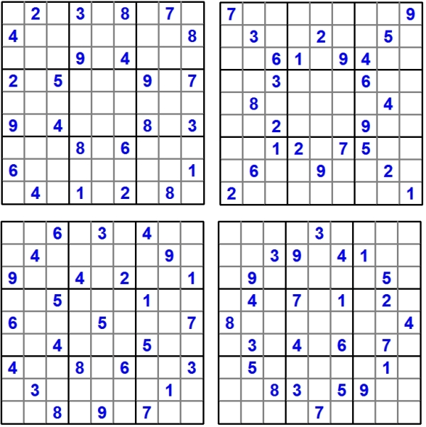 Sudoku-Quartett-Rätsel-Aufgaben - Juli 2016 - Glarean Magazin