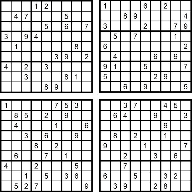 Sudoku-Quartett-Rätsel-Aufgaben - Januar 2017 Glarean Magazin