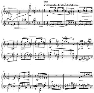 Beginn des Trio's aus dem vierten Satz der Klaviersonate Nr. 7 von Viktor Ullmann