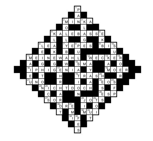 Das neue Musik-Kreuzworträtsel (Juni 2017) - Lösungen